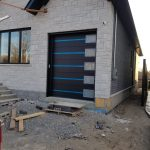 Modern Garage Door Stainless Steel Frosted Glass