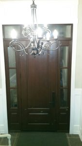 Mahogany Wood Entrance Door Side Lite And Transom inside view
