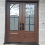 Solid Wood Double Entry Door Frosted Glass Insert