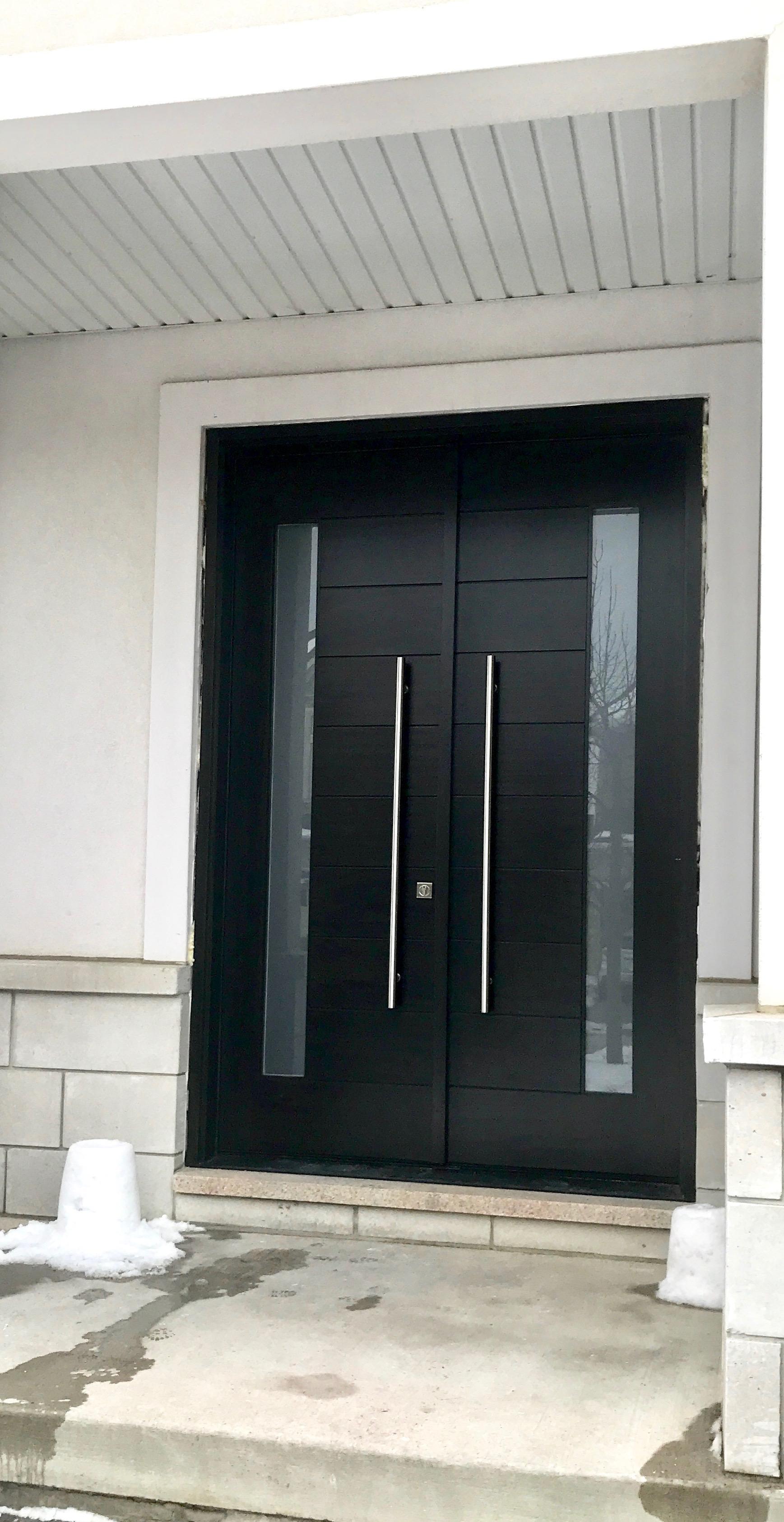 Solid Wood Modern Groove Double Entrance Door