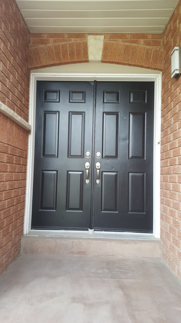 Befor Dark Brown Fiberglass Door With Frosted Glass Side lites