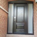 Dark Brown Fiberglass Door With Frosted Glass Side lites