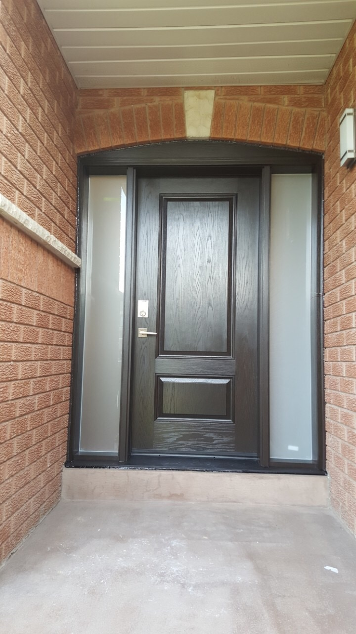 Dark Brown Fiberglass Door With Frosted Glass Side lites