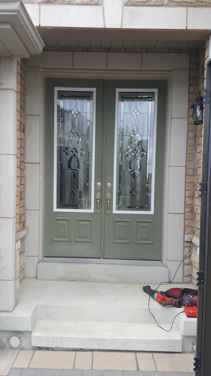 Fiberglass Front Entry Double Door Before