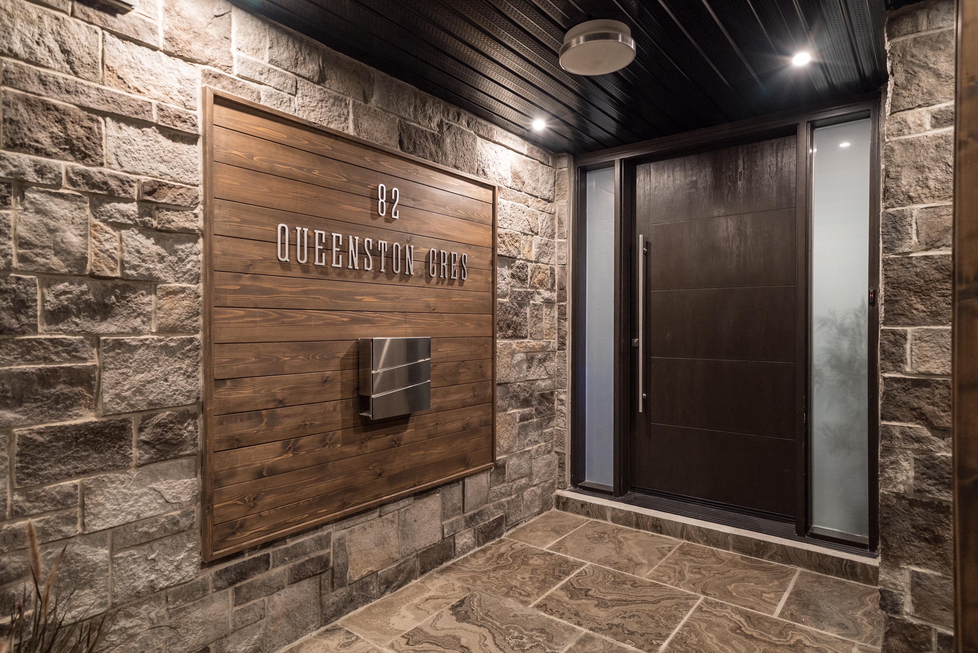 Modern Wood Grain Fiberglass Door Frosted Glass