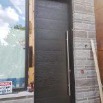 Oversized Modern Entry Door Dark Brown Horizontal Lines