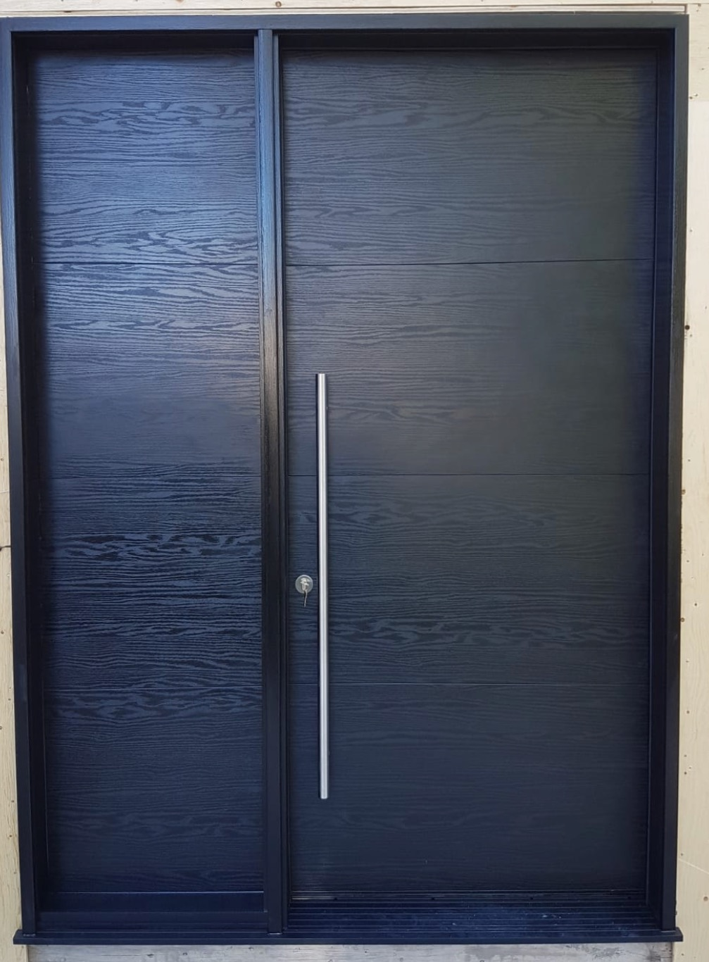 Solid Modern Black Entrance Door Fiberglass Design