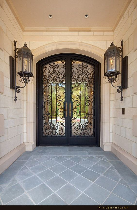 Art Boulle Arched Wrought Iron & Glass