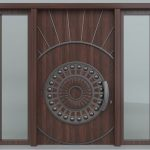 Hand Crafted Solid Wood Single Entry Door Two Clear Side Lite