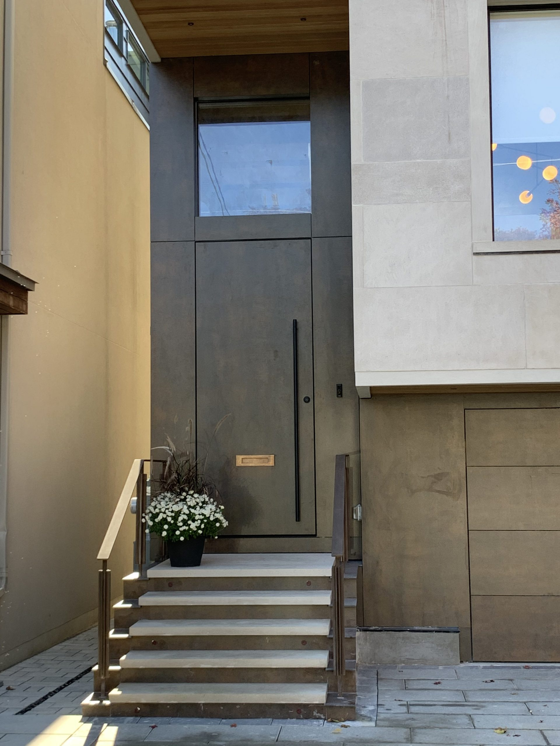 Modern Flush Mounted Single Front Entry Door Solid Wood