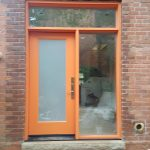 Modern Entry Door Orange Transom Side Light