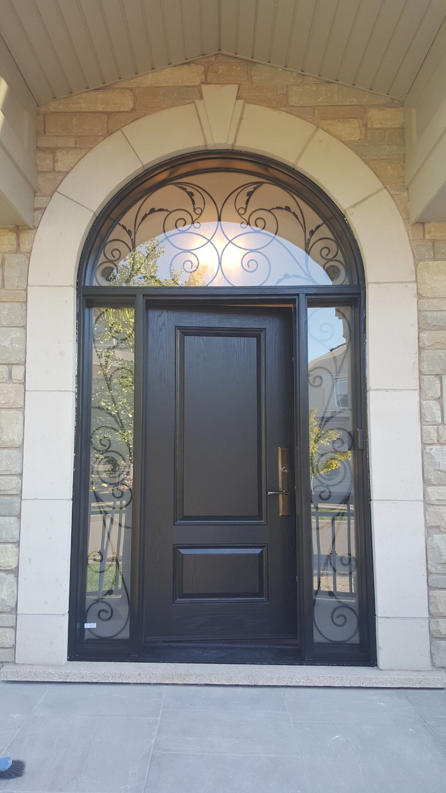 Traditional Arched Wrought Iron Entry Door Side Light