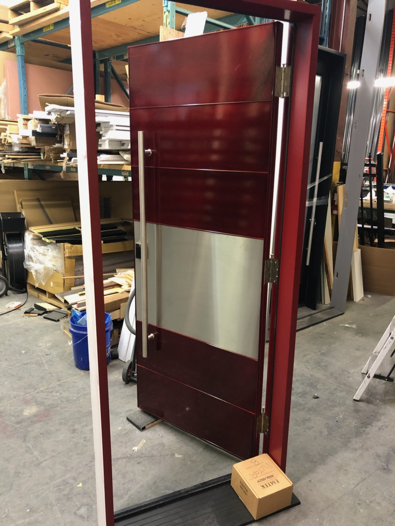 Large Single Front Entry Door Glass Panels Stainless Steele