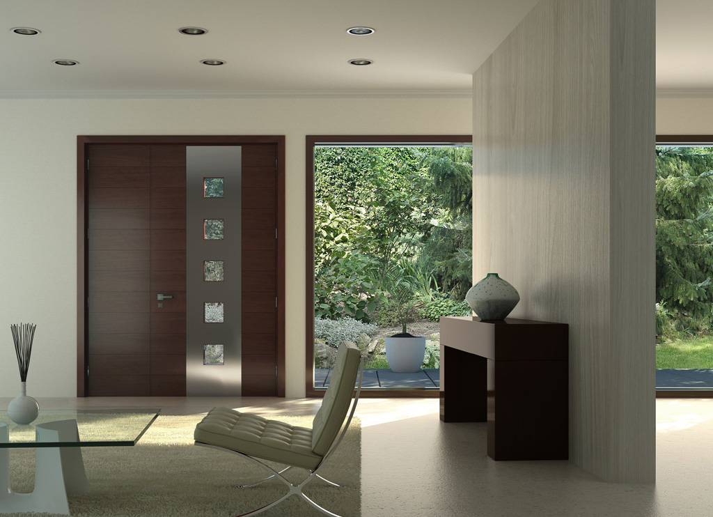 Single Fibre Glass Door Stainless Steele Strip Clear Glass Windows
