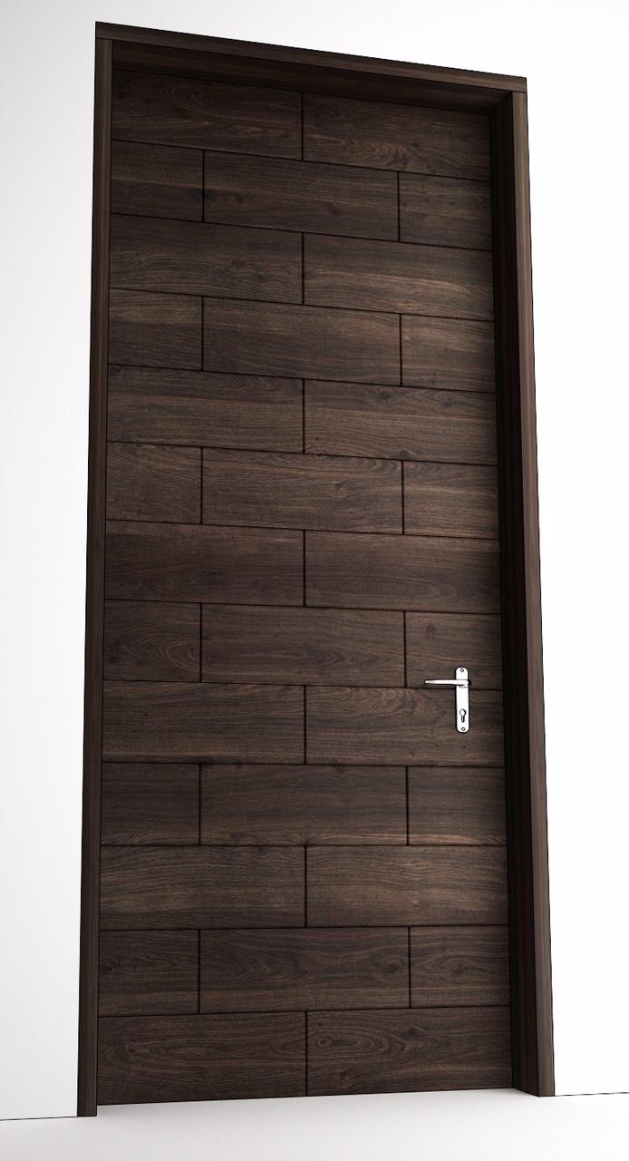 Solid Wood Single Door Squar Brick Design