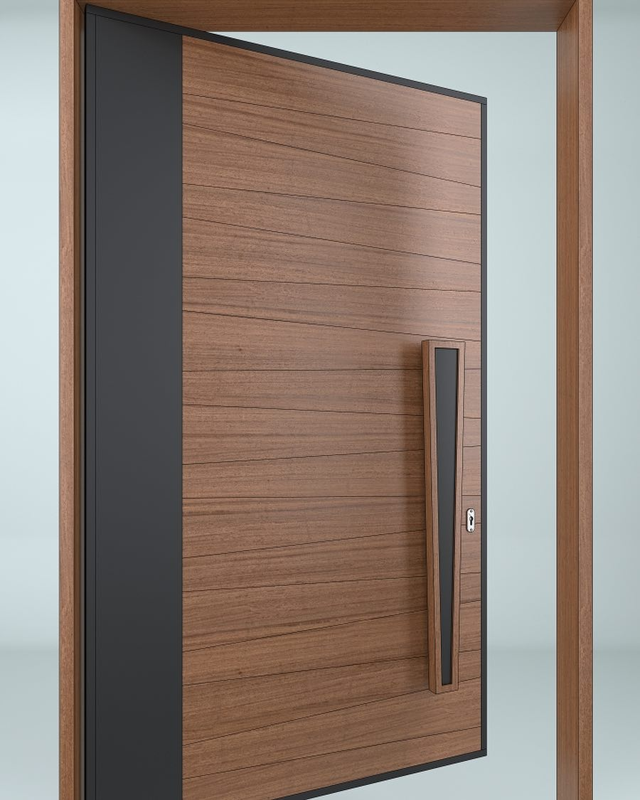Solid Wood Single Entrance door Italian Design Multi Point Lock