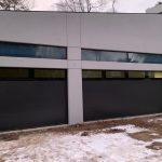 Modern Double Garage Doors Black Glass And Black Panels