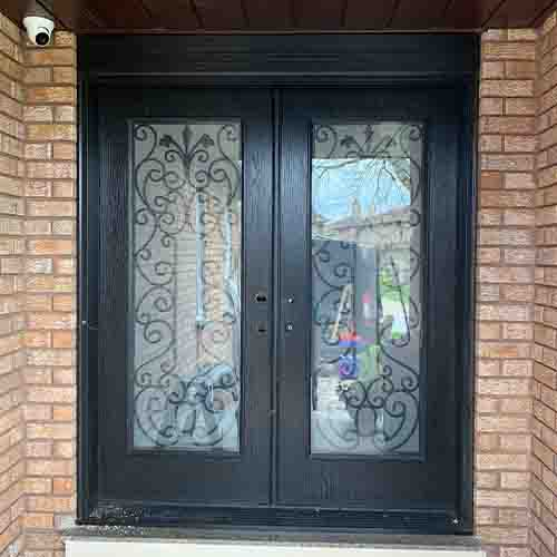 Wrought Iron Design Double Door With Tubular Entry Handles