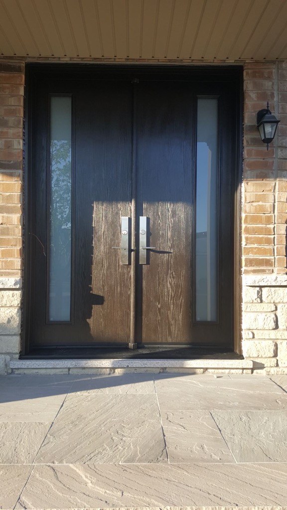 Double Door Fiberglass Wood Grain Frosted Glass Panels