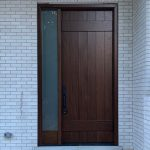 Butcher Block Single Front Entry Door Fiberglass