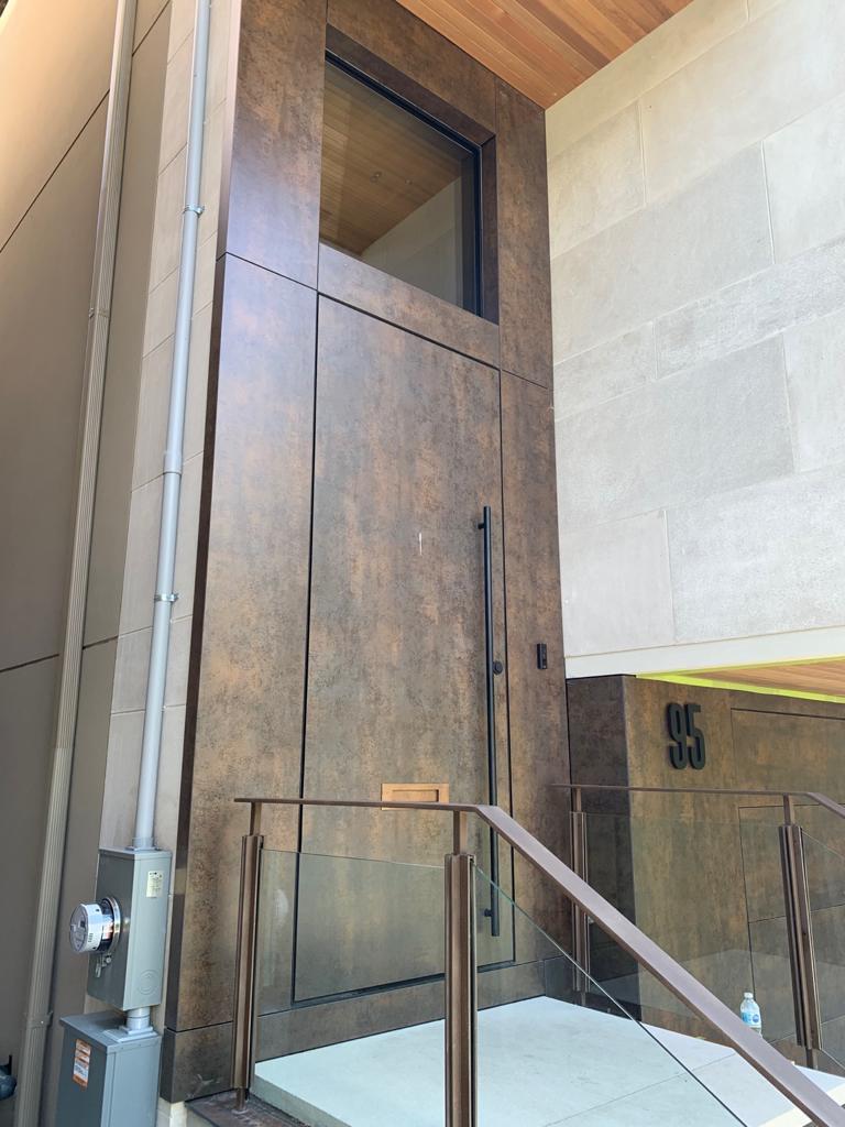 Modern Single Front Entry Door Solid Wood Flush Design
