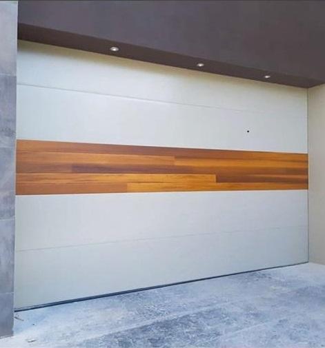 Garage Door Modern White Aluminum Panels Wood Center