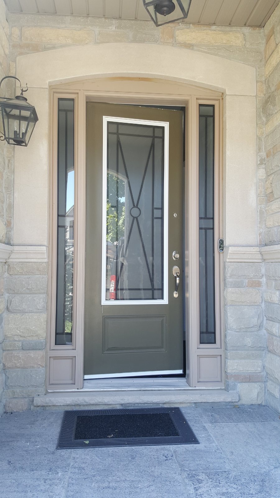Modern Single Fiberglass Door Dark Brown 8 Feet