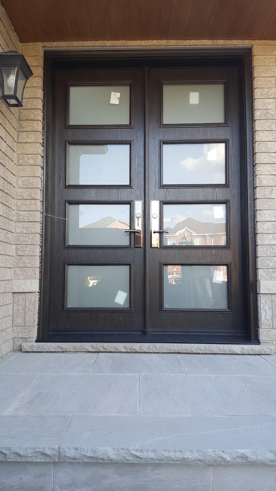 Modern Double Fiberglass Entry Door 4 Panel Glass
