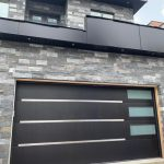 Modern Single Garage Door Stainless Steel Strips Glass Panels