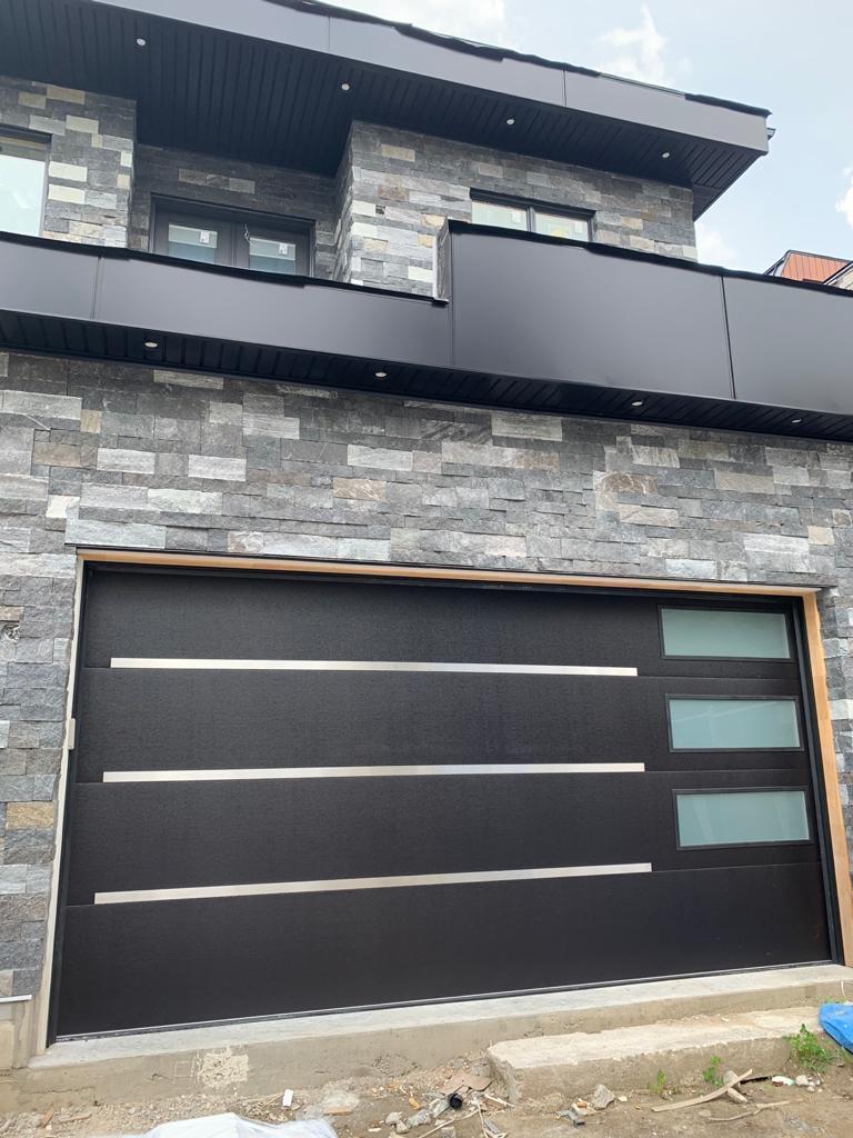 Modern Single Garage Door Stainless Steel Strips Glass Panels