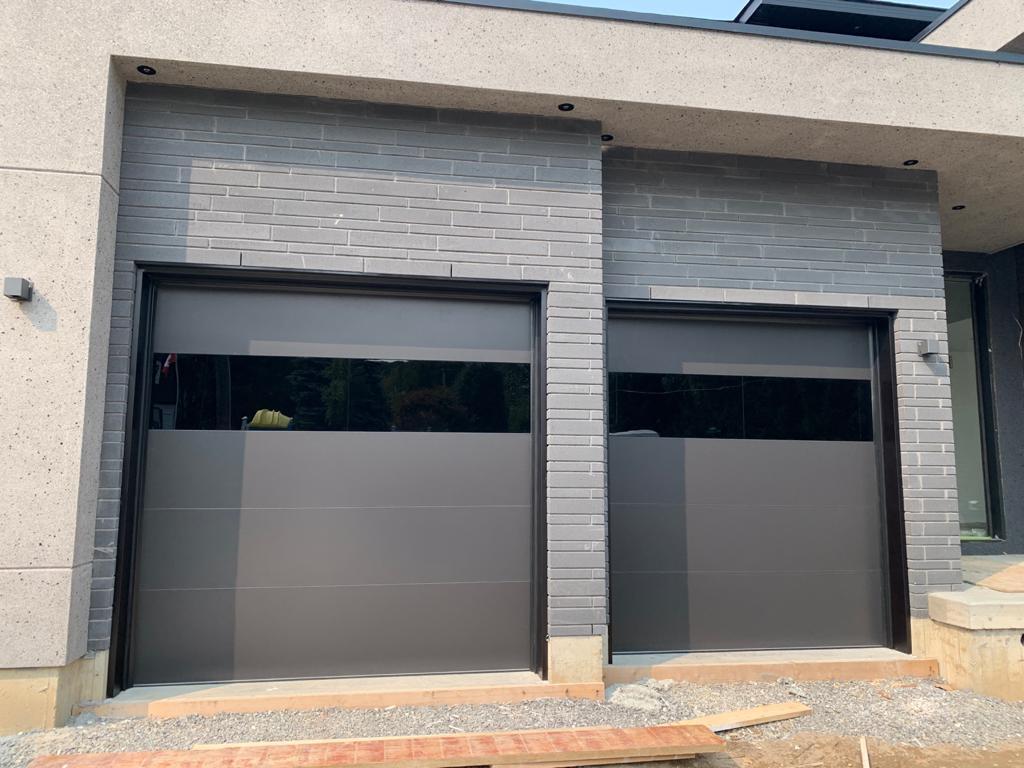 Modern Oversized Steel Garage Doors Black Glass
