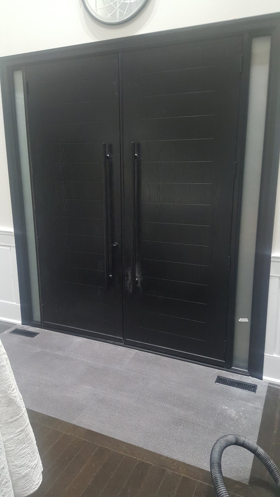 Double Door Entry Multipoint Lock Black Stainless Steel Bar