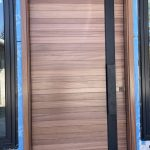 Modern Single Solid Wood Front Door Horizontal Lines
