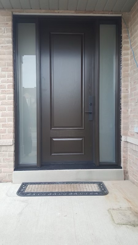 Traditional Entrance Door With Frosted Sidelites and Designer Hardware