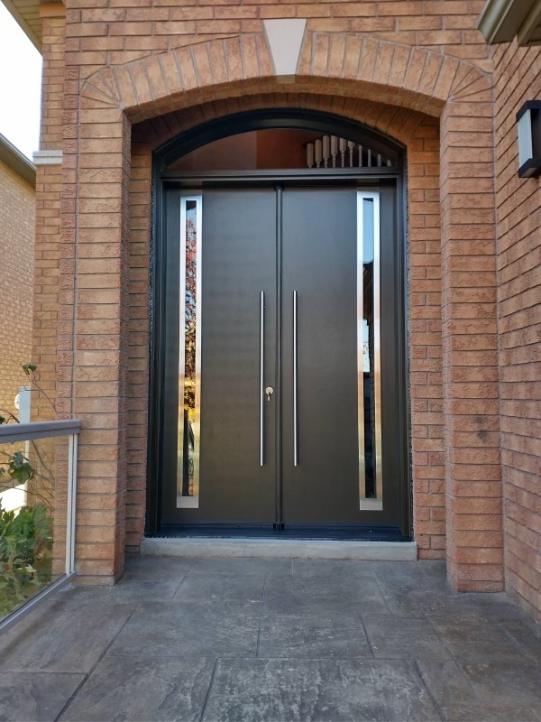 Modern Double Entry Doors Arched Clear Transom