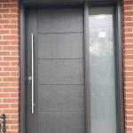 Single Fiberglass Door With Horizontal Grooves And Sidelite