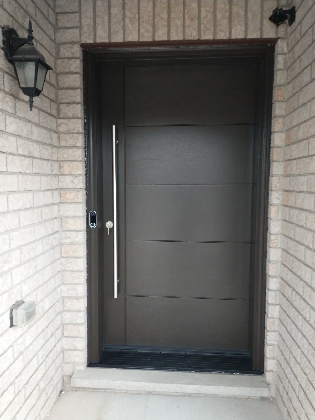 Modern Front Entry Door With Pull Bar Multipoint Lock