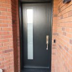 Smooth Single Black Entrance Door With Door Lite Frosted