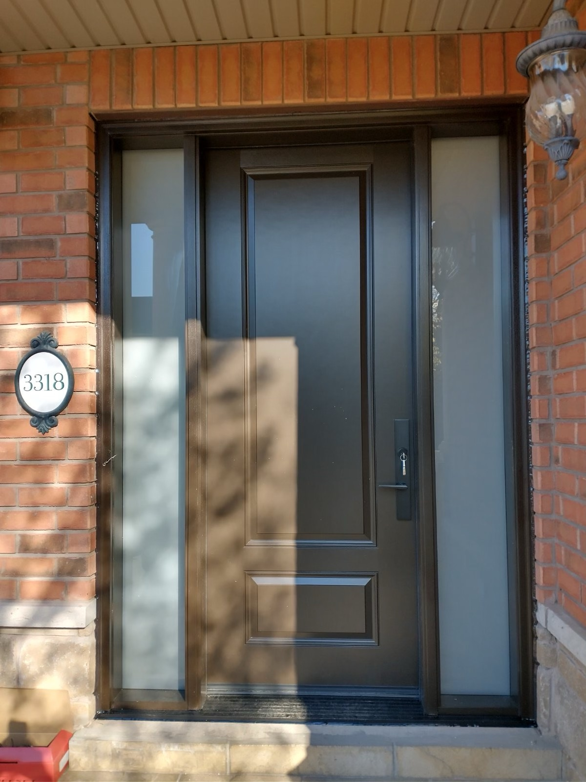 Contemporary Front Exterior Door With Frosted Sidelites