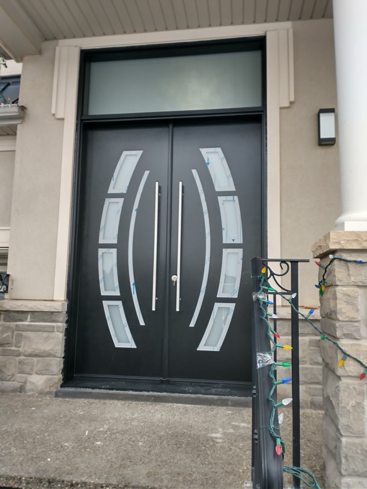 Double Entry Piano Black With Glass Inserts Front Door