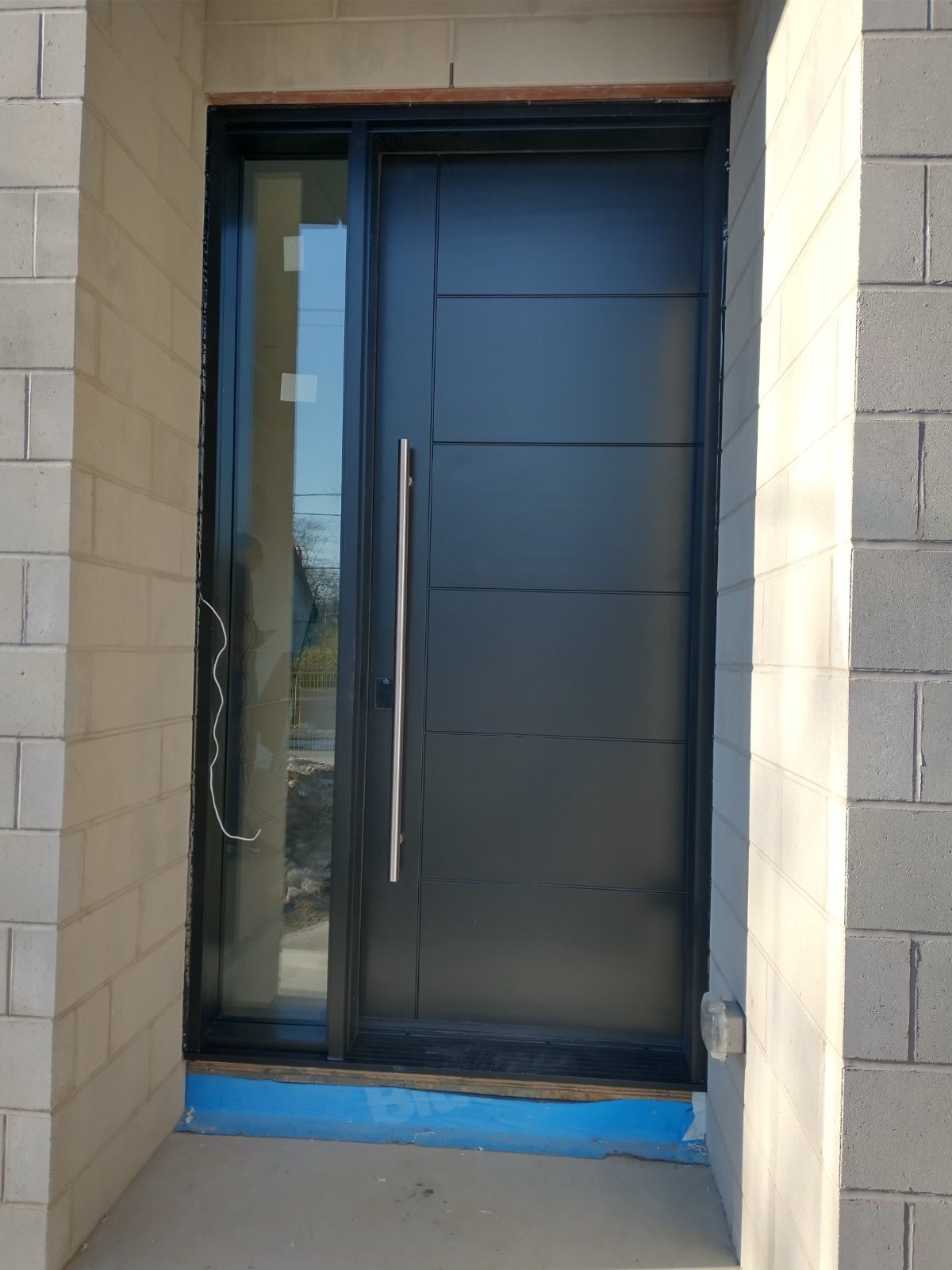 Single Front Entry Door With Stainless Steel Pull Bar Multipoint