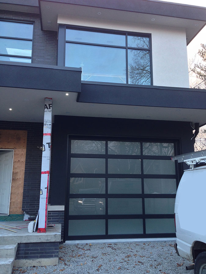 Aluminum Garage Doors-Aluminum Modern Garage door with frosted door lites manufactured and installed in Woodbridge by modern-doors