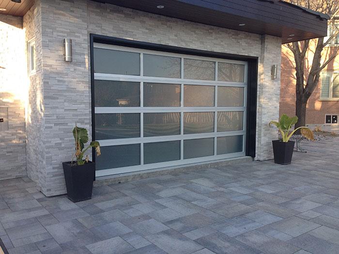 Aluminum Garage door-Modern Garage Door with Frosted lites installed by Modern Doors