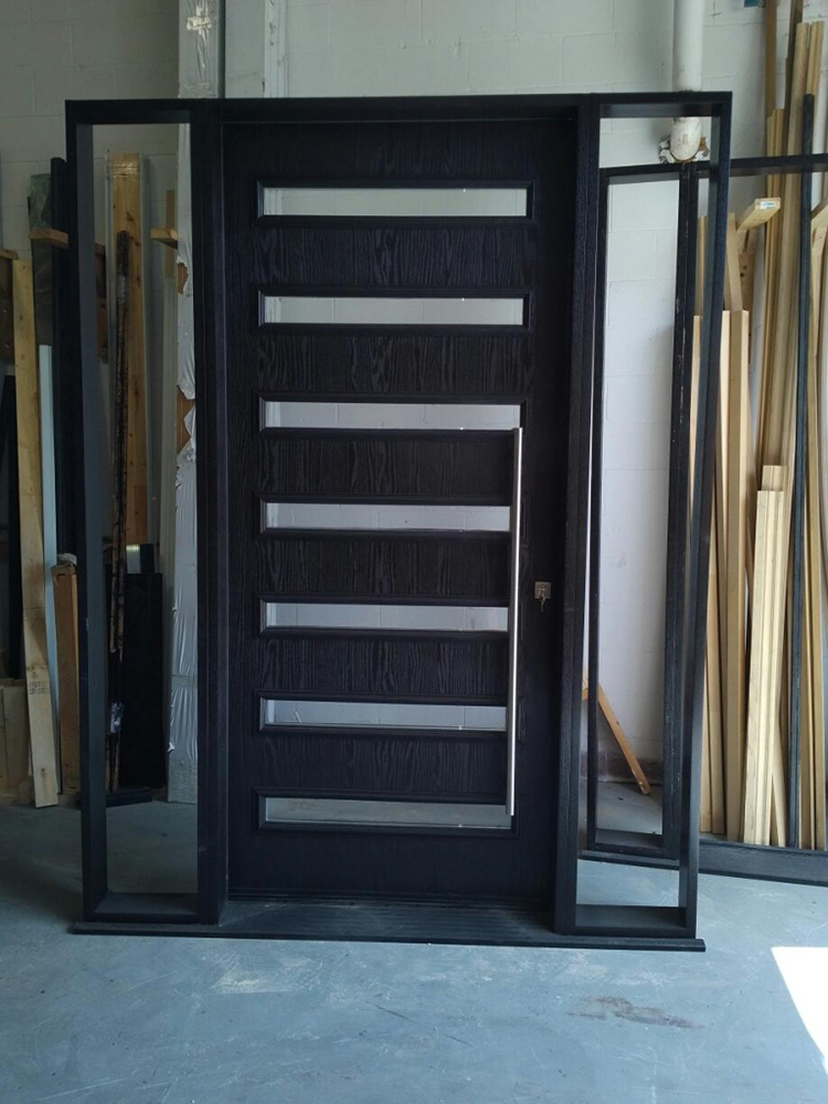 CUstom Modern Door- Custom Exterior Modern Door with 2 site Lites Manufactured by Modern Doors