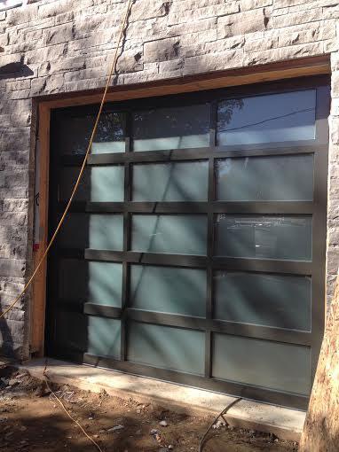 Contemporary Garage Doors- Modern Aluminium Garage Door with Door Lites installed in Oakville by modern-doors.ca