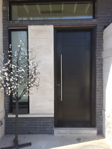 Contemporary Modern Front Door-Fiberglass Modern Door with horizontal stripes installed in Thornhill, Ontario-by modern-doors.ca -Picture#MED175