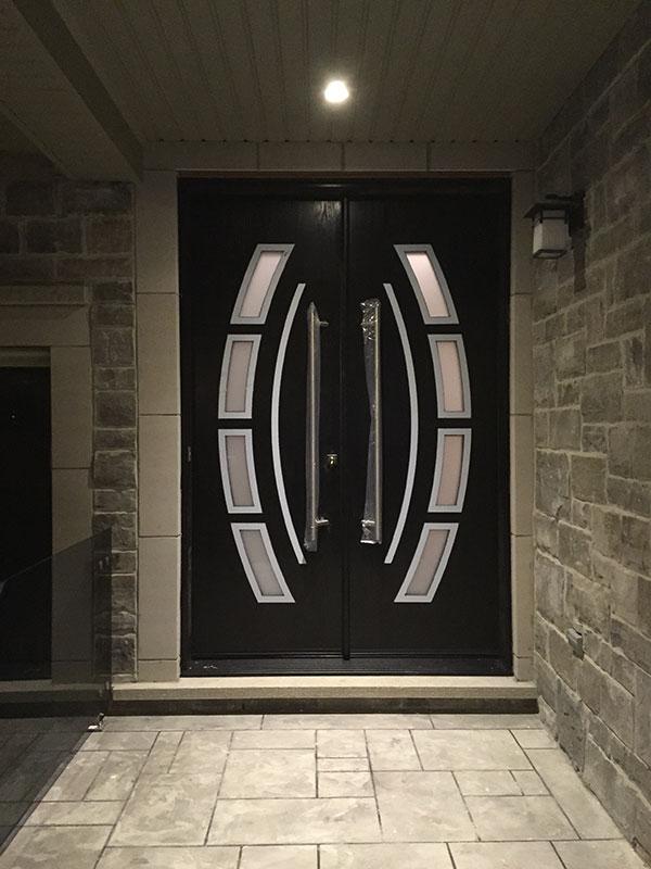 Custom Design Modern Doors with Arched Designed door lites and stainless steel door handles