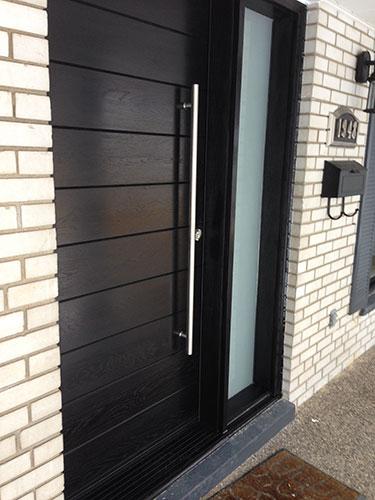 Entry Front Door-Modern Door-Modern Fiberglass Door Frosted side lites installled in Aurora by modern-doors.ca