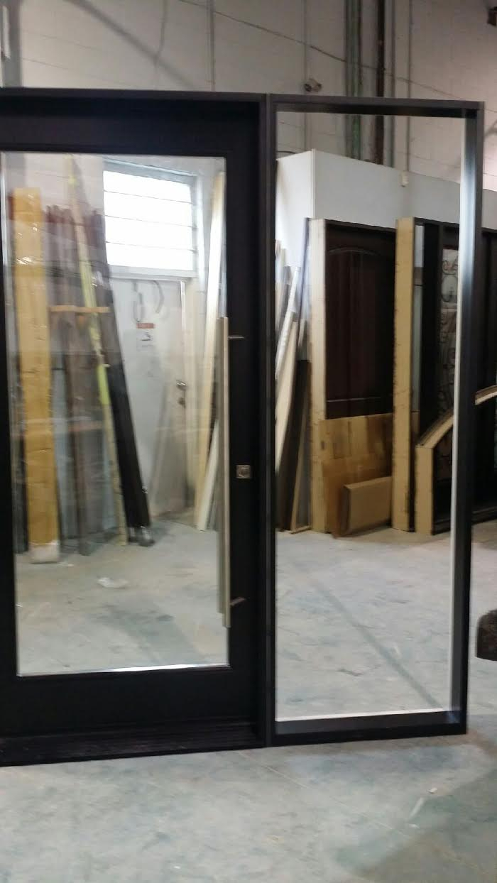 Exterior Modern Fiberglass Doors with clear glass and side lite and Multipoint Locks manufactured by Modern-Doors.ca