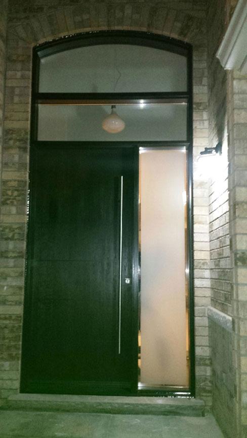 Fiberglass Door-Modern Exterior Fiberglass Rustic Front door with Arched Transom and Stainless Steel Door Handle